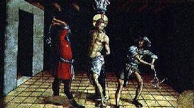 The Flagellation of Christ, central right hand predella panel from the San Silvestro polyptych 1468