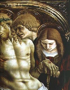 Lamentation of the Dead Christ, detail of St. John the Evangelist and Mary Magdalene, from the Sant' 1473