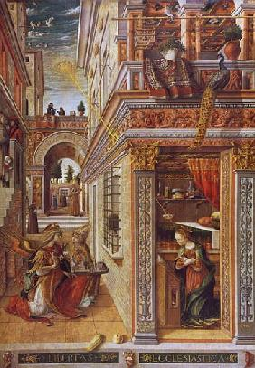 The Annunciation with St. Emidius, 1486 (tempera and oil on canvas) (for detail see 72635)