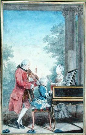 Leopold Mozart (1719-87) and his Children Wolfgang Amadeus (1756-91) and Maria Anna (1751-1829) 1777