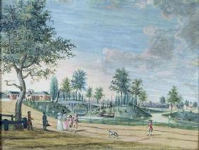 Railway Bridge, Parc du Raincy (The Duke and Duchess of Chartres on their way to the Orangerie) (gou 19th
