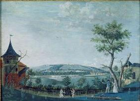 The Hermitage and the Old Castle in the Park at Le Raincy, 1754-93 (gouache on paper) 18th