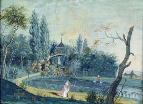 The Lake and Chinese Pavilion in the Park at Le Raincy, c.1754-93 (gouache on paper) 18th