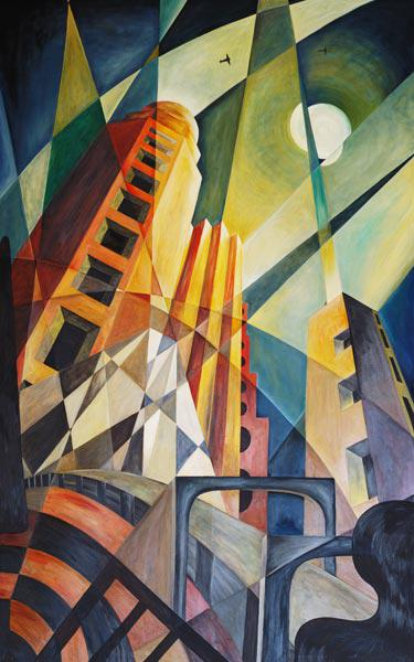 City in Shards of Light (oil on canvas)