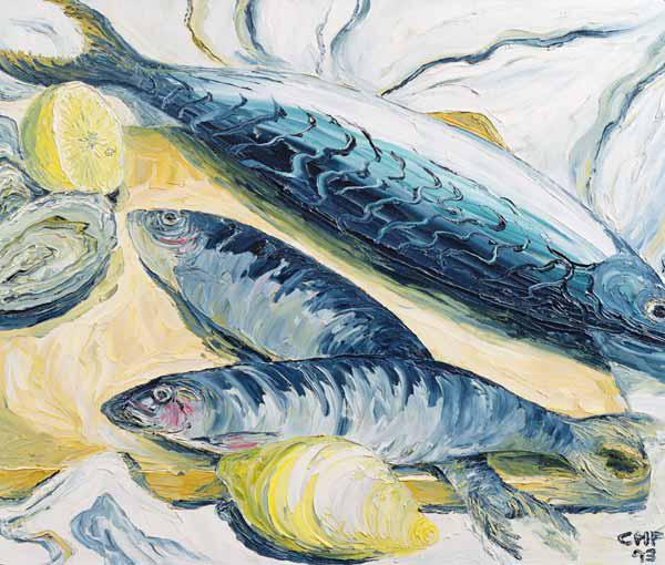 Mackerel with Oysters and Lemons, 1993 (oil on paper)