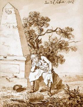 Wanderer am Meilenstein 1802