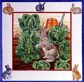 A Rabbit in the Cabbage Patch (w/c on paper)