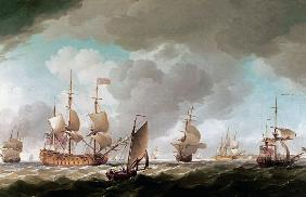 An English Vice-Admiral of the Red and his Squadron at Sea c.1750-59