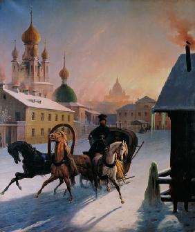 Troika on the Street in St. Petersburg 1850
