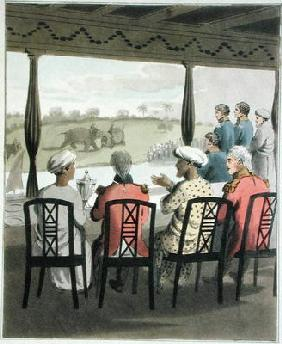 Marquis Wellesley and his Suite, at the Nabob of Oude's Breakfast Table, viewing an elephant fight, 1888