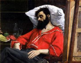 The Convalescent, or The Wounded Man, detail cut by the artist from 'The Visit to the Convalescent' c.1860
