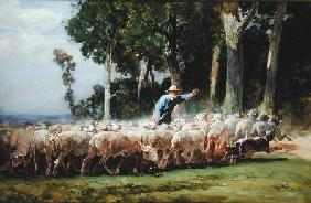 A Shepherd with a Flock of Sheep