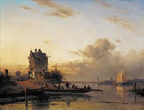 Kunstdruck von Charles Henri Joseph Leickert - Überfahrt im Abendlicht.