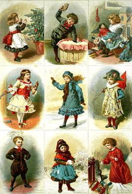 Christmas cards depicting various children's activities, pub. by Leighton Bros., 1882 (engraving) 18th