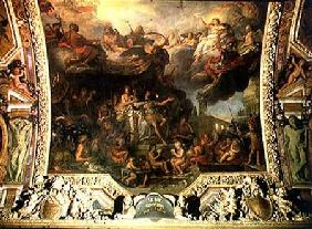 King Louis XIV (1638-1715) Governing Alone in 1661, Ceiling Painting from the Galerie des Glaces