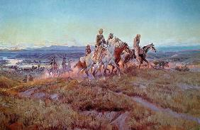 Riders of the Open Range (oil on canvas) 17th