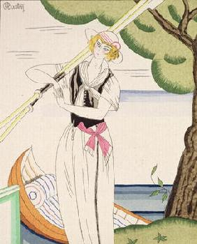 Woman alighting from her boat (colour litho) 15th