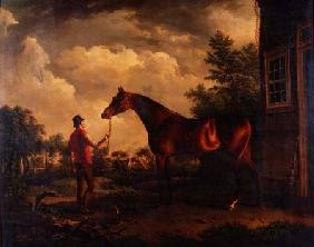 A hunter and groom outside a country house 1816
