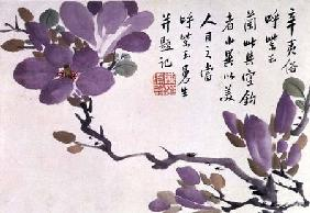 Blossoms, one of twelve leaves inscribed with a poem from an Album of Fruit and Flowers
