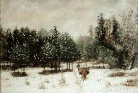 Entrance to the Forest in Winter. Snow Effect 1873