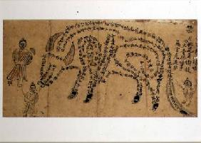 Handpainted incantation depicting a water buffalo composed of a poem with three Taoist priests 19th centu