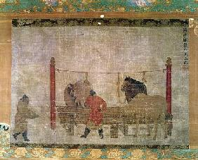 Hanging, depicting grooms feeding horses, ink and watercolour on silk, attributed to Jen Jen-Far 14th centu