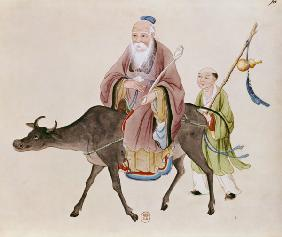 Lao-Tzu (c.604-531) on his buffalo, followed by a disciple  on 18th centu