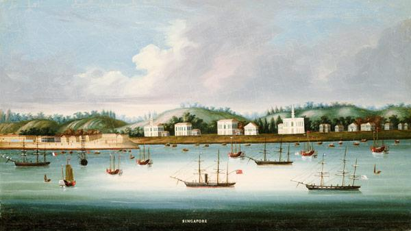 A view of Singapore from the roads with American, French and British shipping, c.1850