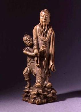Figure of Zhong Kui, supported by a demon servant, Qing dynasty late 18th