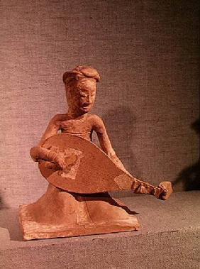 Seated musician playing a lute, from the Tomb of General Chang Sheng, Anyang, Honan, Sui Dynasty 595 AD (st