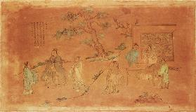 Scene from the life of Confucius (c.551-479 BC) and his disciples, Qing Dynasty (1644-1912) 19th centu