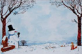 Snowman Under the Tree, 1993 (w/c on paper)