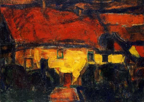 Das gelbe haus mit rotem dach christian rohlfs als for Modernes haus mit rotem dach