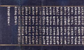 A Lotus Sutra Manuscript In Silver Ink In Indigo-Dyed Paper