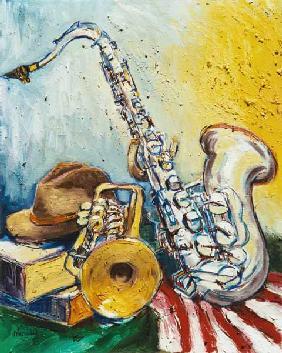 Kunstdruck von Christoph Menschel - Arrangement mit Saxophon