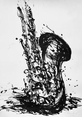 Kunstdruck von Christoph Menschel - Saxophon auflösend