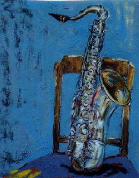 Kunstdruck von Christoph Menschel - Saxophon mit Stuhl II