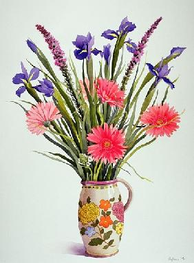 Irises and Berbera in a Dutch Jug (w/c)