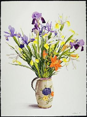 Irises and Lilies in a Dutch Jug (w/c)