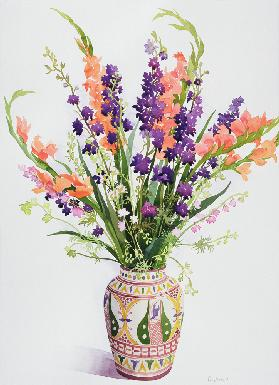 Larkspur and Gladioli in a Moroccan Vase