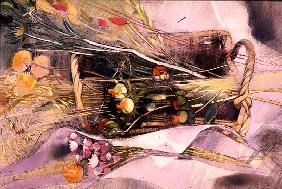 Basket of Dried Flowers ((pastel on paper)