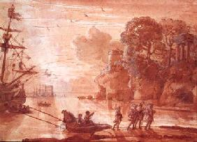 The Disembarkation of Warriors in a Port, possibly Aeneas in Latium 1660-65  &