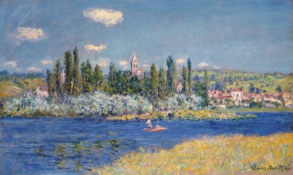 Blick auf Vetheuil - Claude Monet als Kunstdruck oder handgemaltes Gemälde.