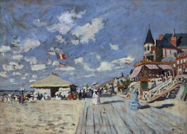 Leinwandbild Poster Glasbild Strand von Trouville Claude Monet