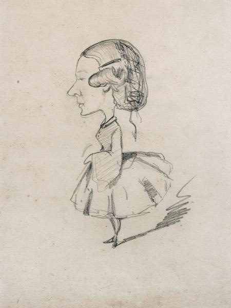 Young girl in profile with a sharp nose, c.1858 (pencil on paper) 19th