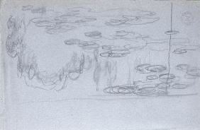 Water-lilies, c.1918 (black crayon on blue-crayon paper) 18th