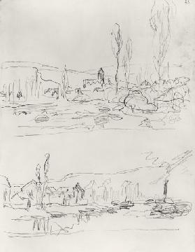 Two Sketches: Vetheuil from L'Ile St-Martin and Tugboat on the Seine before Lavacourt before 188