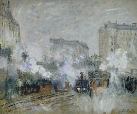 Exterior of the Gare Saint-Lazare, Arrival of a Train 1877