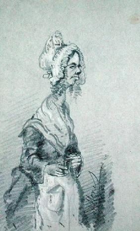Old Woman from Normandy in Profile 1857 cil o