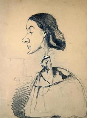 Young Woman at the Piano, 1855-60 (black crayon heightened with white pastel on paper) 19th
